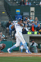 Myrtle Beach Pelicans outfielder Rashad Crawford (20) at bat during a game against the Frederick Keys at Ticketreturn.com Field at Pelicans Ballpark on April 8, 2016 in Myrtle Beach, South Carolina. Frederick defeated Myrtle Beach 5-2. (Robert Gurganus/Four Seam Images)