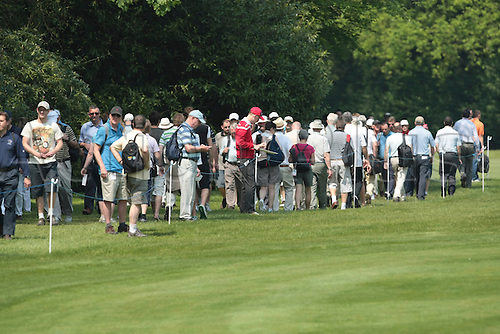 24.05.2012 Wentworth, England. Crowd along the 18th fairway on day 1 during day 1 of the  BMW PGA Championship.