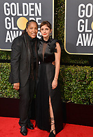 Emma Watson &amp; Imkaan Executive Director Marai Larasi at the 75th Annual Golden Globe Awards at the Beverly Hilton Hotel, Beverly Hills, USA 07 Jan. 2018<br /> Picture: Paul Smith/Featureflash/SilverHub 0208 004 5359 sales@silverhubmedia.com