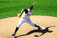 01 September 2008: Colorado Rockies pitcher Jorge De La Rosa delivers a pitch against the San Francisco Giants. The Rockies defeated the Giants 5-0 at Coors Field in Denver, Colorado. FOR EDITORIAL USE ONLY