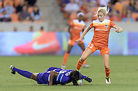 Denise O'Sullivan (13) of the Houston Dash battles Jamia Fields (4) of the Orlando Pride for the ball on Friday, May 20, 2016 at BBVA Compass Stadium in Houston Texas. The Orlando Pride defeated the Houston Dash 1-0.