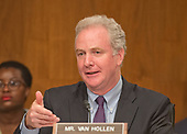 United States Senator Chris Van Hollen (Democrat of Maryland) questions the witnesses during the US Senate Committee on Appropriations Subcommittee on Financial Services and General Government hearing to examine proposed budget estimates and justification for the fiscal year 2018 Federal Communications Commission budget request on Capitol Hill in Washington, DC on Tuesday, June 20, 2017.<br /> Credit: Ron Sachs / CNP