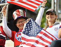 20190611 - REIMS , FRANCE : illustration picture shows the fans before the female soccer game between USA  and Thailand , the first game for both teams in group F during the FIFA Women's  World Championship in France 2019, Tuesday 11th June 2019 at the Auguste Delaune Stadium in Reims , France .  PHOTO SPORTPIX.BE | DIRK VUYLSTEKE