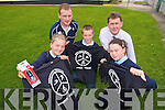 WINNING DESIGN: Three designs created by children from Bouleenshire National School, Ballyheigue were chosen to represent the Kerryhead Triathlon this year. From front l-r were: Angle Hussey, Mark Mulvihill and Megan Harkin. Back l-r were: Pat Clifford (teacher) and Sean Scally from Enable Ireland Kerry Services.