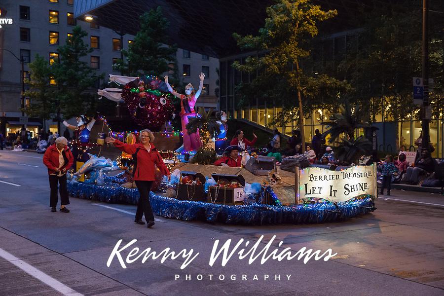 Berried Treasure Float, Seafair Torchlight Parade 2015, Seattle, Washington State, WA, America, USA.