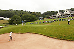 Danny Willett plays from the sand on the 18th during the opening round of the ISPS Handa Wales Open 2013 at the Celtic Manor Resort<br /> <br /> 29.08.13<br /> <br /> ©Steve Pope-Sportingwales
