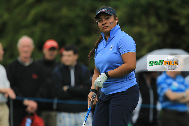 Bethany Wu on the 8th tee during the Friday afternoon Fourballs of the 2016 Curtis Cup at Dun Laoghaire Golf Club on Friday 10th June 2016.<br /> Picture:  Golffile | Thos Caffrey