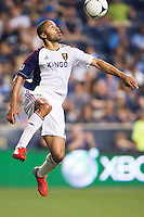 Alvaro Saborio (15) of Real Salt Lake. during a Major League Soccer (MLS) match at PPL Park in Chester, PA, on August 24, 2012.