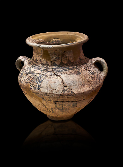 Phrygian two handled amphora vessel decorated with geometric designs. 8th-7th century BC . Çorum Archaeological Museum, Corum, Turkey