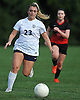 Talia Maccarino #23 of St. Dominic moves the ball downfield during a varsity girls soccer game against Long Island Lutheran at Charles Wang Athletic Complex in Muttontown on Monday, Oct. 3, 2016. St. Dominic won by a score of 6-4.