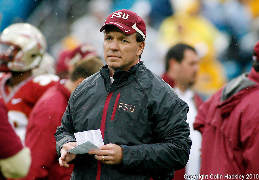 JACKSONVILLE, FL 1/1/10-FSU-WV FB CH15-Florida State Offensive Coordinator Jimbo Fisher monitors his team prior to the Gator Bowl against West Virginia, Friday in Jacksonville, Fla. .COLIN HACKLEY PHOTO