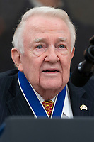 Former United States Attorney General Edwin Meese listens during the ceremony in which US President Donald J. Trump presents him the Presidential Medal of Freedom to Meese at the White House in Washington, DC, October 8, 2019. Meese served from 1985 to 1988 under US President Ronald Reagan.  Credit: Chris Kleponis / Pool via CNP /MediaPunch