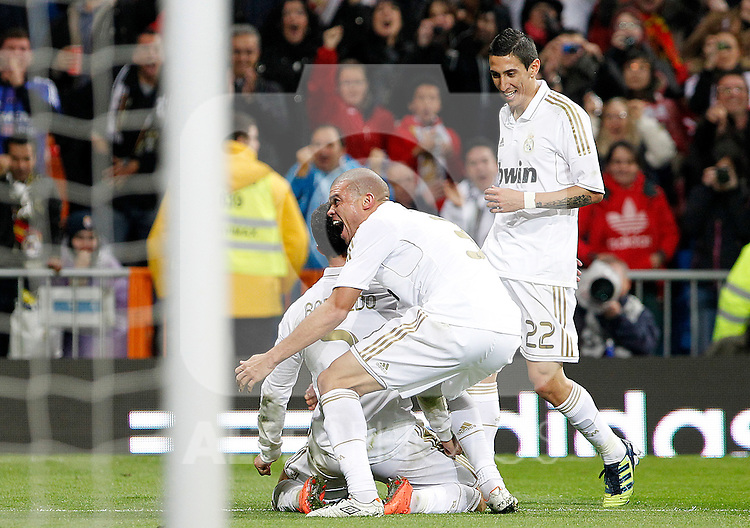 Real Madrid's Cristiano Ronaldo, Pepe and Angel Di Maria celebrate goal during La Liga match.April 14,2012. (ALTERPHOTOS/Acero)