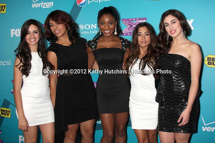 LOS ANGELES - NOV 5:  1432 - Ally Brooke, Camila Cabello, Normani Hamilton, Dinah Jane Hansen, Lauren Jauregui arrives at the X-Factor Season Two FInalist Party at SLS Hotel at Beverly Hills on November 5, 2012 in Los Angeles, CA