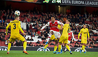 Pierre-Emerick Aubameyang of Arsenal shot at goal during the UEFA Europa League match between Arsenal and Standard Liege at the Emirates Stadium, London, England on 3 October 2019. Photo by Andrew Aleks.
