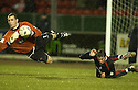 15/03/2005         Copyright Pic : James Stewart.File Name : jspa04_falkirk_v_clyde.DAYRLL DUFFY GOES IN LATE ON BRYN HALLIWELL....Payments to :.James Stewart Photo Agency 19 Carronlea Drive, Falkirk. FK2 8DN      Vat Reg No. 607 6932 25.Office     : +44 (0)1324 570906     .Mobile   : +44 (0)7721 416997.Fax         : +44 (0)1324 570906.E-mail  :  jim@jspa.co.uk.If you require further information then contact Jim Stewart on any of the numbers above.........A