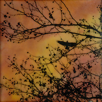 Brilliant orange sunset with bird seen through trees encaustic painting with photography SOLD