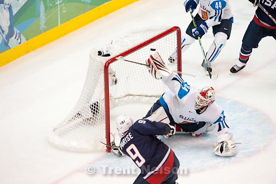 Trent Nelson  |  The Salt Lake Tribune.USA's Zach Parise scores on Finland's Miikka Kiprusoff, putting the US up 2-0. USA vs. Finland, men's Ice Hockey at the Canada Hockey Place, Vancouver, XXI Olympic Winter Games, Friday, February 26, 2010.
