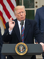 United States President Donald J. Trump makes a statement following his meeting with Democratic leaders in the Situation Room of the White House in Washington, DC in an effort to break the political impasse on border security and reopen the federal government on Friday, January 4, 2018.  The President also took questions from reporters.  Looking on, from left to right, are: US Vice President Mike Pence, US House Minority Whip Steve Scalise (Republican of Louisiana), and US House Minority Leader Kevin McCarthy (Republican of California). Photo Credit: Ron Sachs/CNP/AdMedia