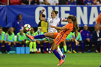 Atlanta, GA - Sunday Sept. 18, 2016: Carli Lloyd, Lieke Martens during a international friendly match between United States (USA) and Netherlands (NED) at Georgia Dome.