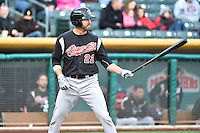 Kent Matthes (22) of the Sacramento River Cats at bat against the Salt Lake Bees at Smith's Ballpark on April 3, 2014 in Salt Lake City, Utah.  (Stephen Smith/Four Seam Images)