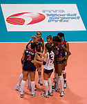 22 August 2010, Hong Kong, China ---  USA players listen the national anthem before their volleyball game against China on the last day of the FIVB World Grand Prix Pool G at the Hong Kong Coliseum stadium. Photo by Victor Fraile --- Image by © Victor Fraile