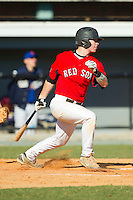 Tanner Bigham (2) of Northwest Cabarrus High School follows through on his swing at the 2012 South Atlantic Border Battle on November 3, 2012 in Burlington, North Carolina.  The Mets (SC13) defeated the Red Sox (NC 13) 3-2.  (Brian Westerholt/Four Seam Images)