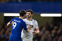 Chelsea's Alvaro Morata and Crystal Palace's James Tomkins have a pushing match <br /> <br /> Photographer Craig Mercer/CameraSport<br /> <br /> The Premier League - Chelsea v Crystal Palace - Saturday 10th March 2018 - Stamford Bridge - London<br /> <br /> World Copyright &copy; 2018 CameraSport. All rights reserved. 43 Linden Ave. Countesthorpe. Leicester. England. LE8 5PG - Tel: +44 (0) 116 277 4147 - admin@camerasport.com - www.camerasport.com