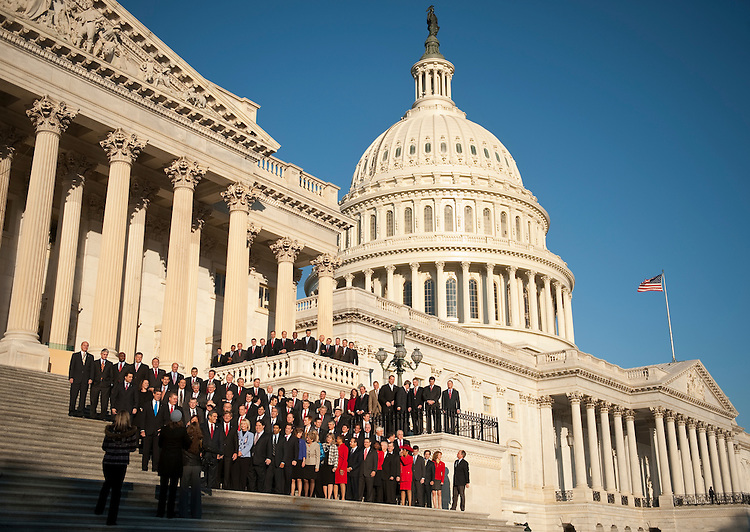 UNITED STATES - NOVEMBER 19:  The newly elected members of Congress pose for the freshman class photo on the House steps of the Capitol on Friday morning, Nov. 19, 2010. (Photo By Bill Clark/Roll Call)