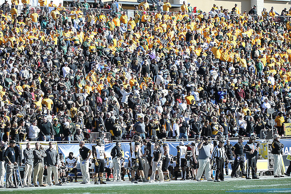 FRISCO, TX  JANUARY 4: Fans cheer during the Division 1 Football Championship between the North Dakota University State Bison and the Towson Tigers at Toyota Stadium  in Frisco on January 4, 2014 in Frisco, TX. NDSU won 35-7. Photo by Rick Yeatts