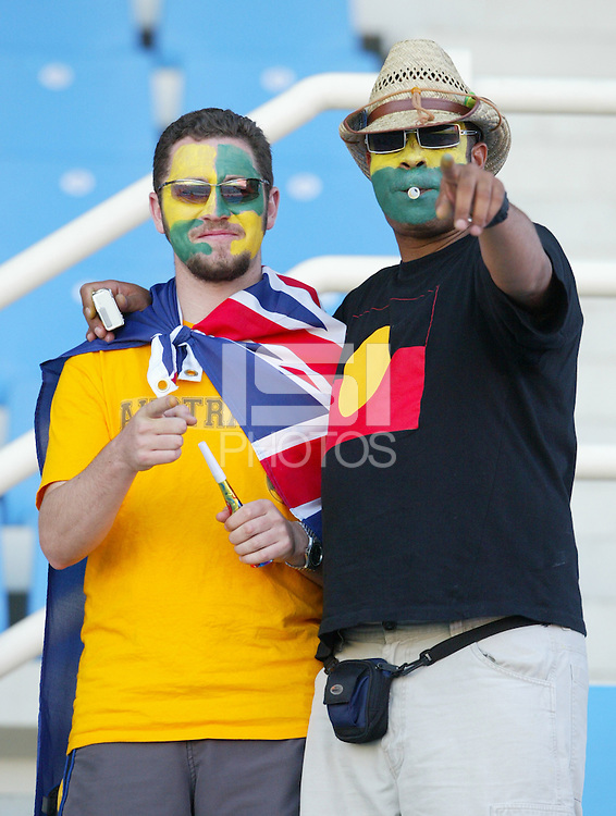 17 August 2004:   Australia Fans at Kaftanzoglio Stadium in Thessaloniki, Greece.     USA tied Australia at 1-1.   Credit: Michael Pimentel / ISI
