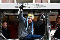 February 4, 2015 - Boston, Massachusetts, U.S. - New England Patriots tight end Rob Gronkowski (87) celebrates   during a parade held in Boston to celebrate the team's victory over the Seattle Seahawks in Super Bowl XLIX. Eric Canha/CSM