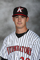 Kannapolis Intimidators pitcher Danny Dopico (29) poses for a photo at Kannapolis Intimidators Stadium on April 5, 2017 in Kannapolis, North Carolina.  (Brian Westerholt/Four Seam Images)