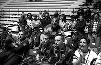 L'incitamento dei tifosi durante un incontro di Boxe dilettanti al Palazzetto dello Sport di Roma