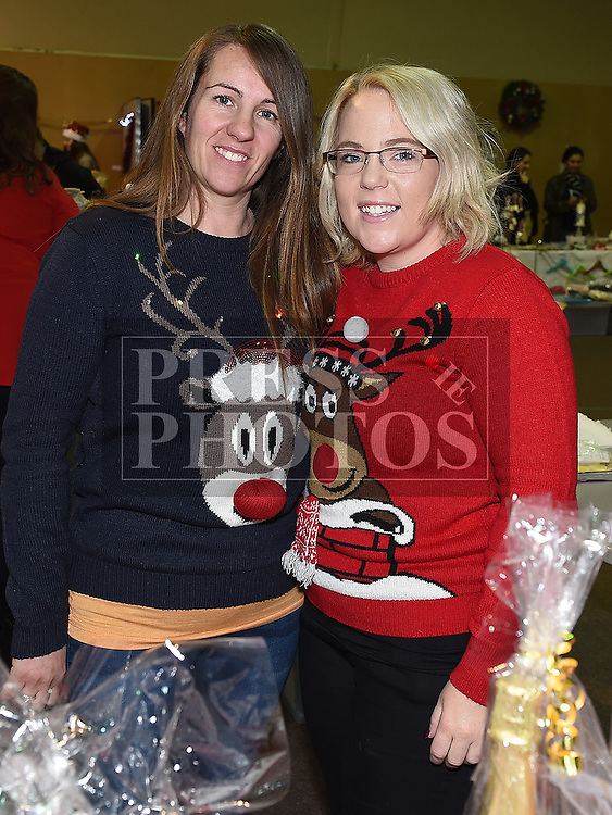 Tanya O'Callaghan and Amy Martin at the Boyne RFC Christmas Fair in the Grammar School. Photo:Colin Bell/pressphotos.ie