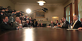 United States President Barack Obama participates in a bipartisan Congressional Leadership meeting in the Cabinet Room of the White House on Wednesday, April 14, 2010.  On the right side of the table, from left to right: U.S. House Majority Leader Steny Hoyer (Democrat of Maryland); U.S. House Republican Leader John A. Boehner (Republican of Ohio);  Speaker of the U.S. House Nancy Pelosi (Democrat of California);  President Obama; and U.S. Senate Majority Leader Harry Reid (Democrat of Nevada). On the left side of the table, from left to right: U.S. Secretary of the Treasury Timothy Geithner; Vice President Joseph Biden; and White House Chief of Staff Rahm Emanuel. .Credit: Dennis Brack / Pool via CNP