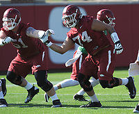 NWA Democrat-Gazette/ANDY SHUPE<br /> Arkansas offensive lineman Colton Jackson moves through a drill Tuesday, March 28, 2017, during spring practice at the UA practice facility in Fayetteville.
