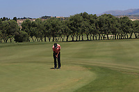 S.S.P Chawrasia (IND) on the 2nd green during Round 3 of the Rocco Forte Sicilian Open 2018 played at Verdura Resort, Agrigento, Sicily, Italy on Saturday 12th May 2018.<br /> Picture:  Thos Caffrey / www.golffile.ie<br /> <br /> All photo usage must carry mandatory copyright credit (&copy; Golffile | Thos Caffrey)