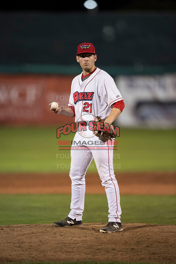 Orem Owlz relief pitcher Kyle Tyler (21) during a Pioneer League game against the Ogden Raptors at Home of the OWLZ on August 24, 2018 in Orem, Utah. The Ogden Raptors defeated the Orem Owlz by a score of 13-5. (Zachary Lucy/Four Seam Images)