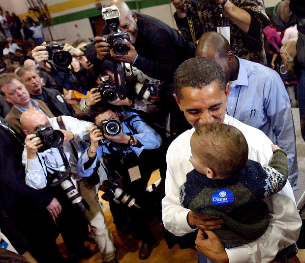 Sen. Barack Obama kisses a child also named Barack following a town hall meeting Saturday, February 10, 2007 at Kennedy High School in Cedar Rapids, Iowa.  Earlier in the day, Obama formally announced his candidacy for President in Springfield, Illinois.