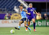 Orlando, FL - Saturday September 10, 2016: Tasha Kai, Monica Hickman Alves during a regular season National Women's Soccer League (NWSL) match between the Orlando Pride and Sky Blue FC at Camping World Stadium.