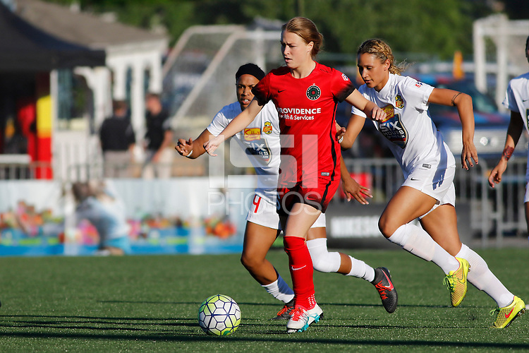 Rochester, NY - Friday June 17, 2016: Portland Thorns FC defender Emily Sonnett (16), Western New York Flash forward Jessica McDonald (14), Western New York Flash forward Lynn Williams (9) after a regular season National Women's Soccer League (NWSL) match between the Western New York Flash and the Portland Thorns FC at Rochester Rhinos Stadium.