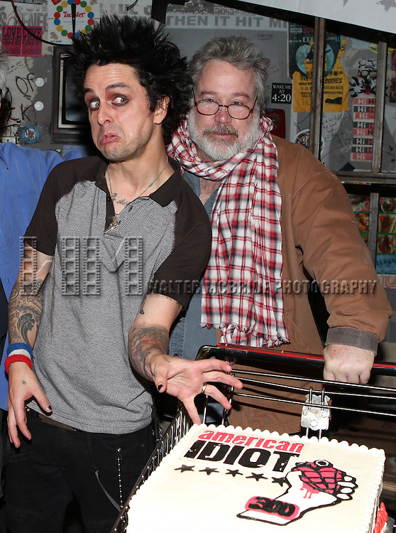 "Billy Joe Armstrong (Green Day) & producer Tom Hulce.with the Cast & Crew celebrating their 300th Performance of  ""American Idiot"" at the St. James Theatre in New York City."