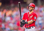19 September 2015: Washington Nationals outfielder Bryce Harper steps up to the plate during a game against the Miami Marlins at Nationals Park in Washington, DC. The Nationals defeated the Marlins 5-2 in the third game of their 4-game series. Mandatory Credit: Ed Wolfstein Photo *** RAW (NEF) Image File Available ***