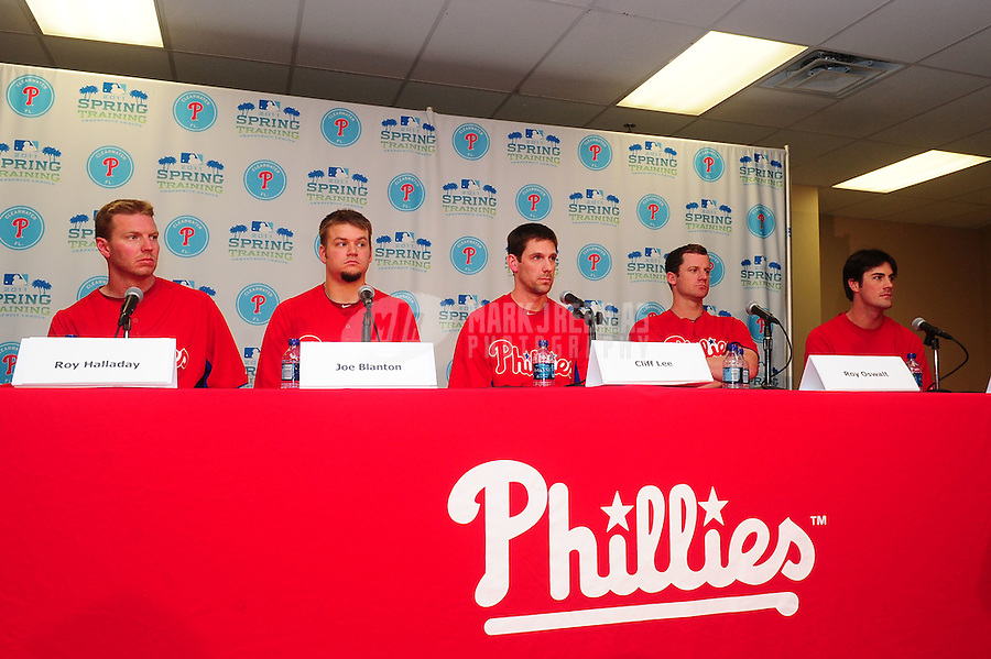 February 14, 2011; Clearwater, FL, USA; Philadelphia Phillies pitchers (from left) Roy Halladay , Joe Blanton , Cliff Lee , Roy Oswalt and Cole Hamels at a press conference during spring training at Bright House Networks Field. Mandatory Credit: Mark J. Rebilas-