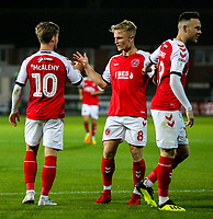 Fleetwood Town's Kyle Dempsey congratulates Conor McAleny after he scored his side's second goal<br /> <br /> Photographer Alex Dodd/CameraSport<br /> <br /> The EFL Checkatrade Trophy - Northern Group B - Fleetwood Town v Leicester City U21 - Tuesday September 11th 2018 - Highbury Stadium - Fleetwood<br />  <br /> World Copyright &copy; 2018 CameraSport. All rights reserved. 43 Linden Ave. Countesthorpe. Leicester. England. LE8 5PG - Tel: +44 (0) 116 277 4147 - admin@camerasport.com - www.camerasport.com
