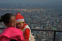 Mother and Child view from Pasuati Nath Monkey Temple,Kathmandu Nepal