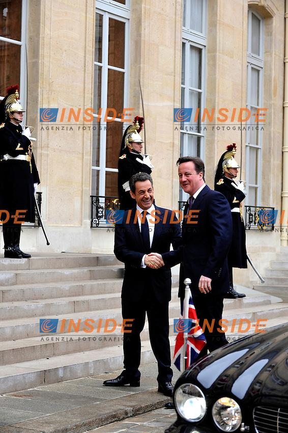 Nicolas Sarkozy Presidente della Repubblica Francese e David Cameron Primo Ministro Inglese .Parigi 17/2/2012 Eliseo.Summit Francia Inghilterra.Foto Insidefoto / Gerard Roussel / Panoramic.Italy Only