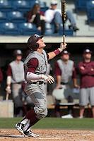 Scott Arthur #14 of the Texas A&M Aggies bats against the Pepperdine Waves at Eddy D. Field Stadium on March 23, 2012 in Malibu,California. Texas A&M defeated Pepperdine 4-0.(Larry Goren/Four Seam Images)
