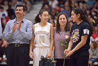 NWA Democrat-Gazette/BEN GOFF @NWABENGOFF<br /> Bentonville recognizes senior players and managers on Friday Feb. 26, 2016 during the senior night game against Fayetteville in Bentonville's Tiger Arena.
